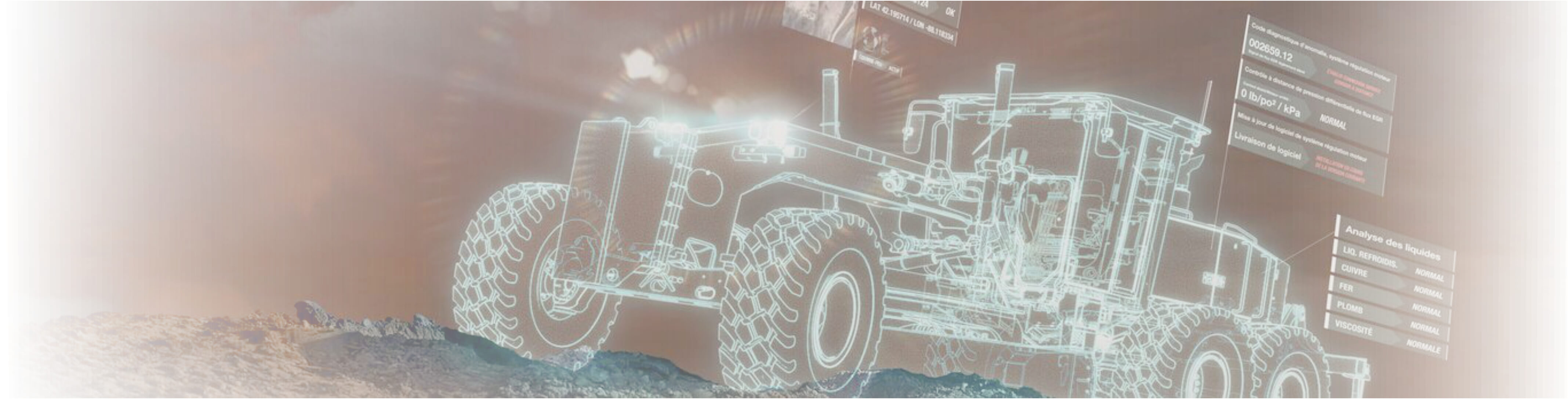 holograph motor grader with worksight notifications on jobsite
